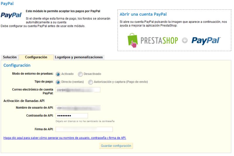 configurar paypal en tu tienda online Prestashop